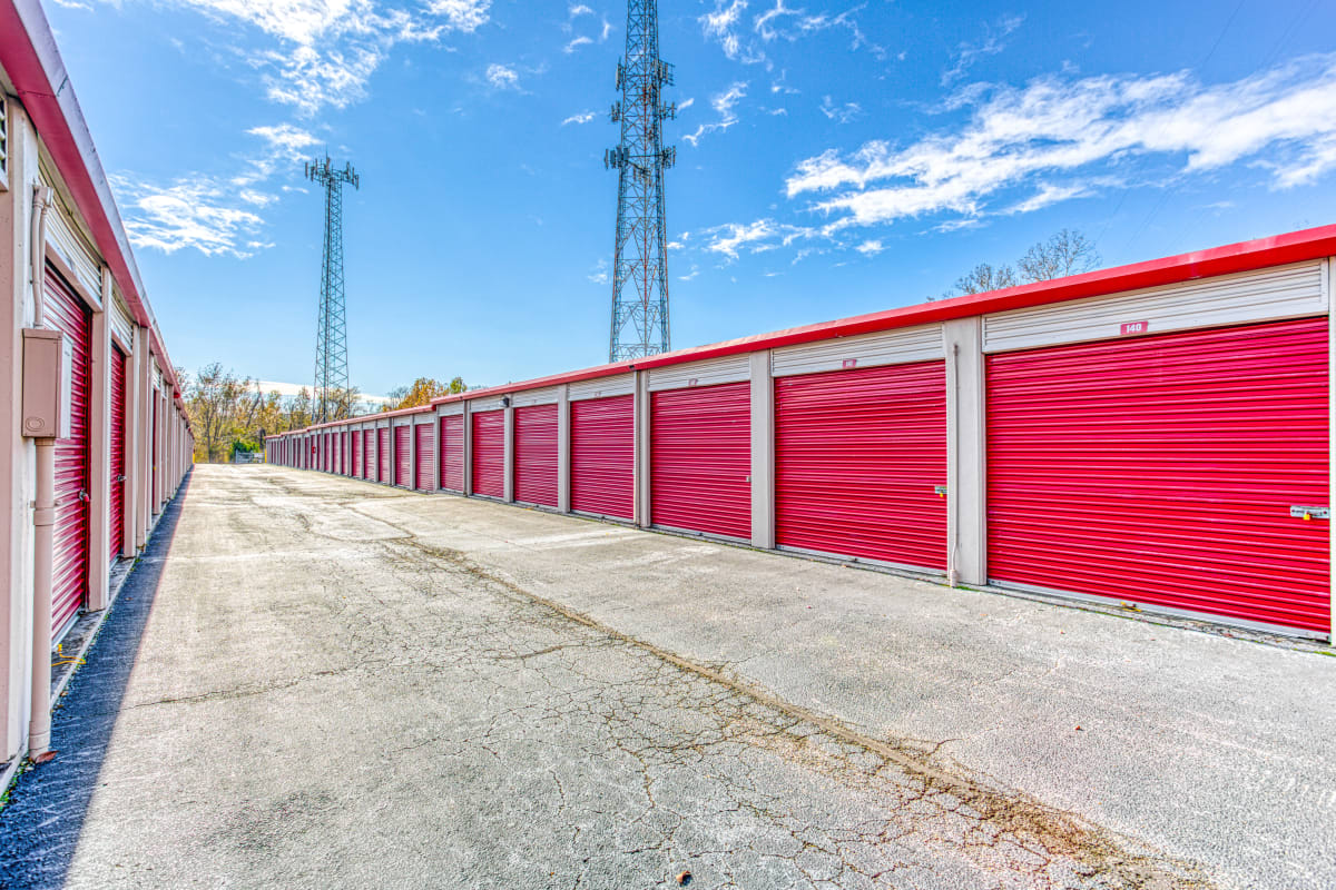 Open driveways and large parking spaces at Devon Self Storage in Cordova, Tennessee