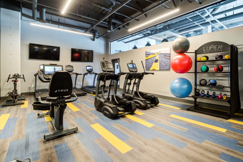 Plenty of individual workout stations at Lumen Apartments in Everett, Washington