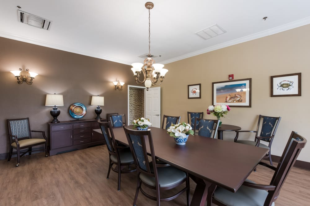 Private dining room at Waterview Court in Shreveport, Louisiana.