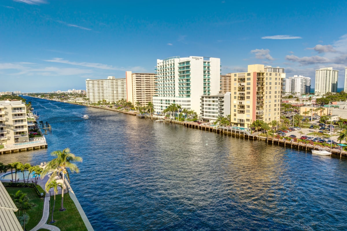 View of the city and river near The Meridian at Waterways in Fort Lauderdale, Florida