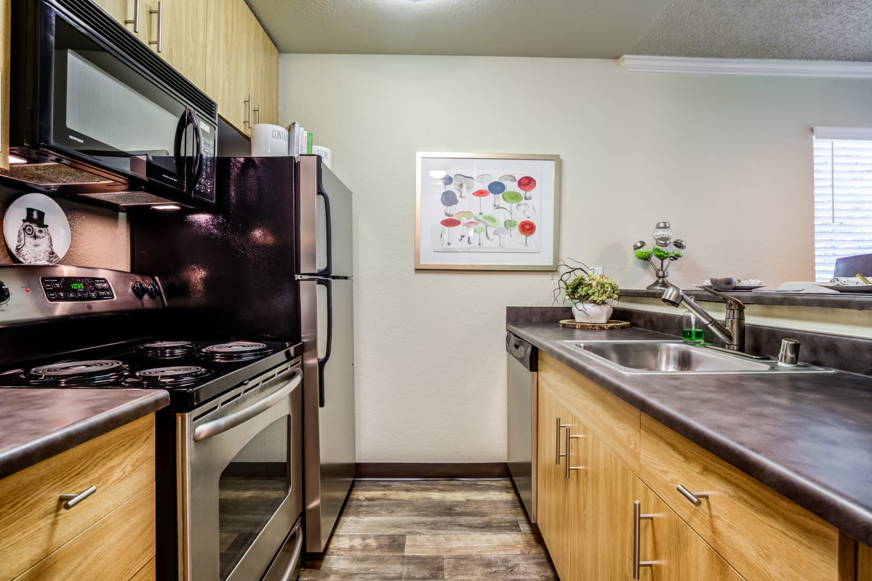 Modern kitchen at Vue Kirkland Apartments in Kirkland, Washington