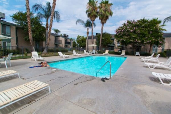 Swimming pool at San Tropez Apartments in Fresno, California