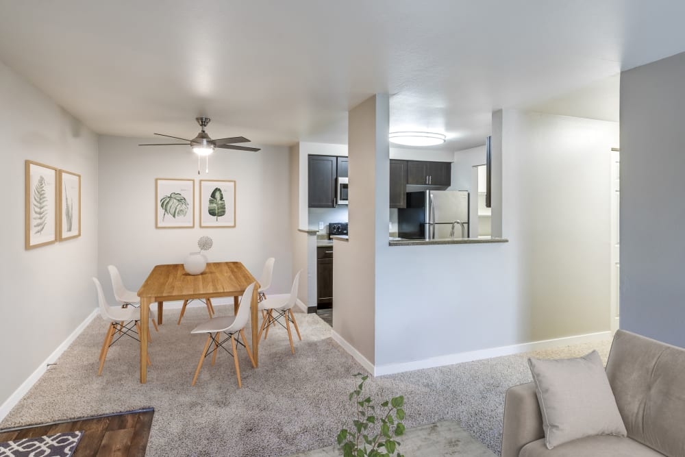 Living room and dining room at Olin Fields Apartments in Everett, Washington