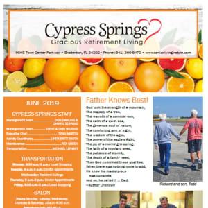 June Cypress Springs Gracious Retirement Living Newsletter