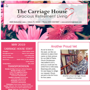 May The Carriage House Gracious Retirement Living newsletter