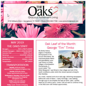May The Oaks Gracious Retirement Living newsletter