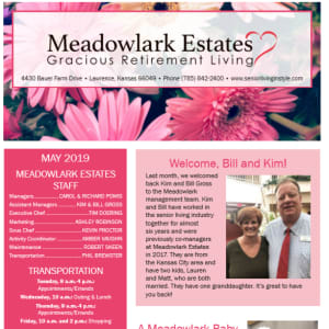 May Meadowlark Estates Gracious Retirement Living newsletter