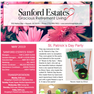 May Sanford Estates Gracious Retirement Living newsletter