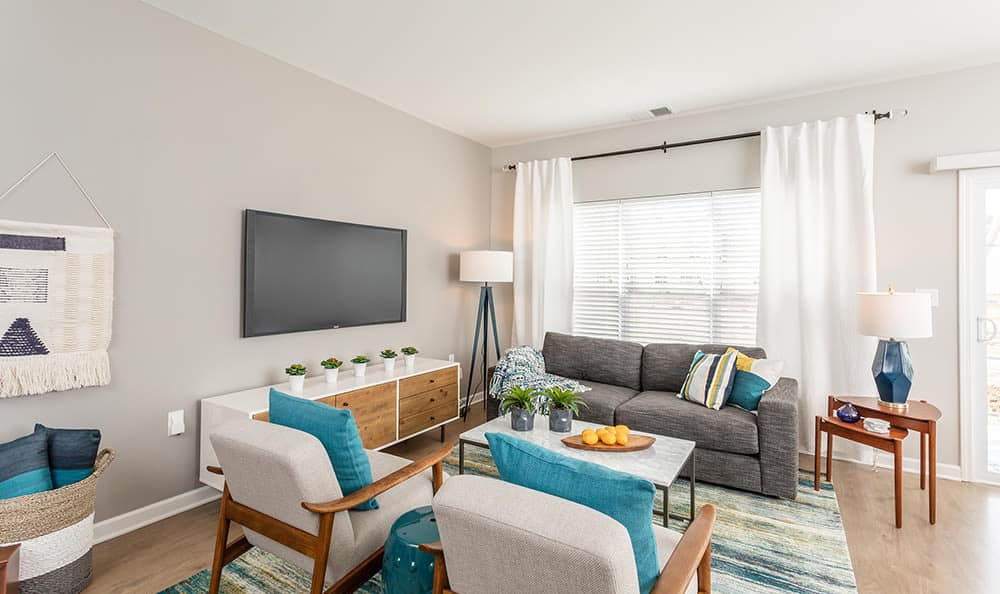 Living room at Woodland Acres Townhomes in Liverpool, NY