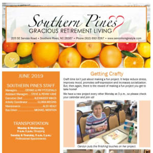 June Southern Pines Gracious Retirement Living Newsletter