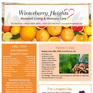 June Winterberry Heights Assisted Living Newsletter