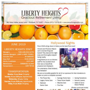 June Liberty Heights Gracious Retirement Living Newsletter