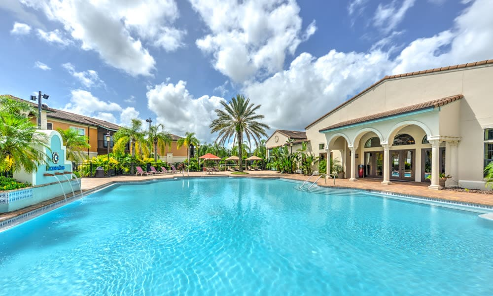 Beautiful day at the expansive resort-style swimming pool at Hacienda Club in Jacksonville, Florida