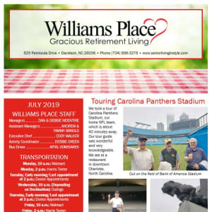 July Williams Place Gracious Retirement Living Newsletter