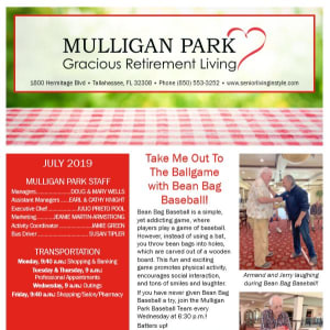 July Mulligan Park Gracious Retirement Living Newsletter