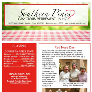 July Southern Pines Gracious Retirement Living Newsletter