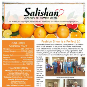 June Salishan Gracious Retirement Living Newsletter