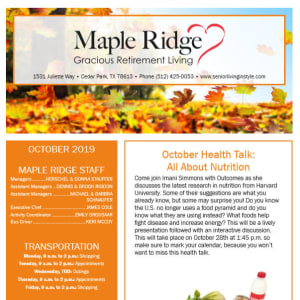October Maple Ridge Gracious Retirement Living Newsletter