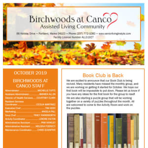 October Birchwoods at Canco Assisted Living Newsletter