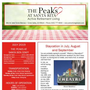 July The Peaks at Santa Rita Newsletter