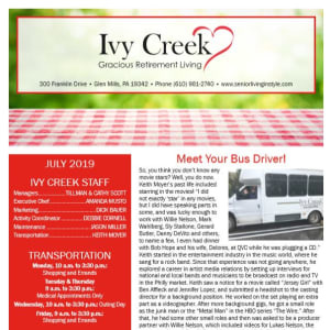 July Ivy Creek Gracious Retirement Living Newsletter