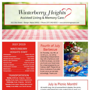 July Winterberry Heights Assisted Living Newsletter