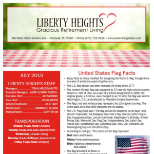 July Liberty Heights Gracious Retirement Living Newsletter