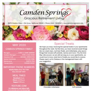 May Camden Springs Gracious Retirement Living newsletter