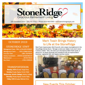 October Stoneridge Gracious Retirement Living Newsletter