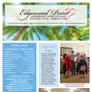 April Edgewood Point Assisted Living Newsletter