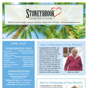 April Stoneybrook Assisted Living Newsletter