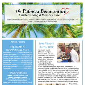 April Palms at Bonaventure Assisted Living Newsletter