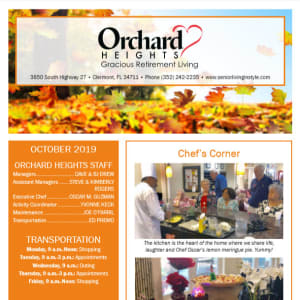 October Orchard Heights Gracious Retirement Living Newsletter