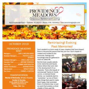 October Providence Meadows Gracious Retirement Living Newsletter