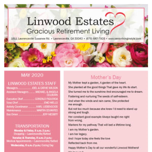 May Linwood Estates Gracious Retirement Living newsletter