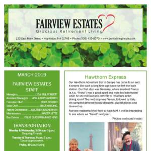 March Fairview Estates Gracious Retirement Living Newsletter