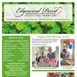 March Edgewood Point Assisted Living Newsletter