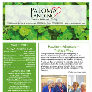 March Paloma Landing Retirement Community Newsletter