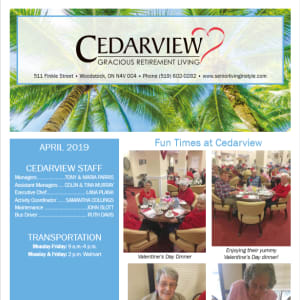 April Cedarview Gracious Retirement Living Newsletter