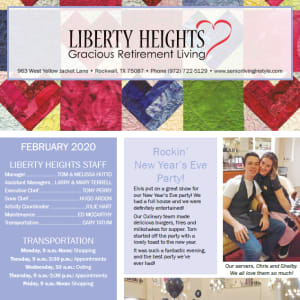 February Liberty Heights Gracious Retirement Living newsletter