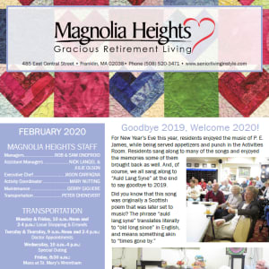 February Magnolia Heights Gracious Retirement Living newsletter