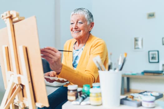 Residents in a paint class at The Alexander in Bend, Oregon