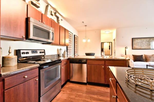 Full kitchens at Aventura at Mid Rivers in Saint Charles, Missouri.