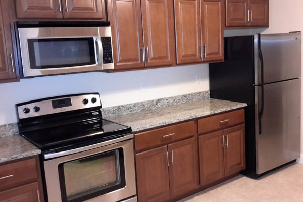 Stainless steel appliances at Grassfields Commons in Dracut, Massachusetts