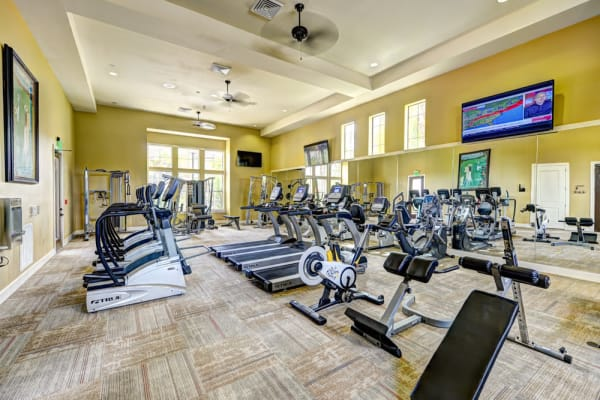 Fully equipped fitness center at Hacienda Club in Jacksonville, Florida
