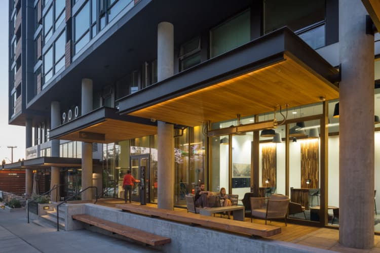 Exterior view at Rooster Apartments in Seattle, Washington
