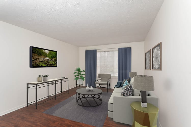 Rendering of a living room at Waverlywood Apartments & Townhomes in Webster, New York