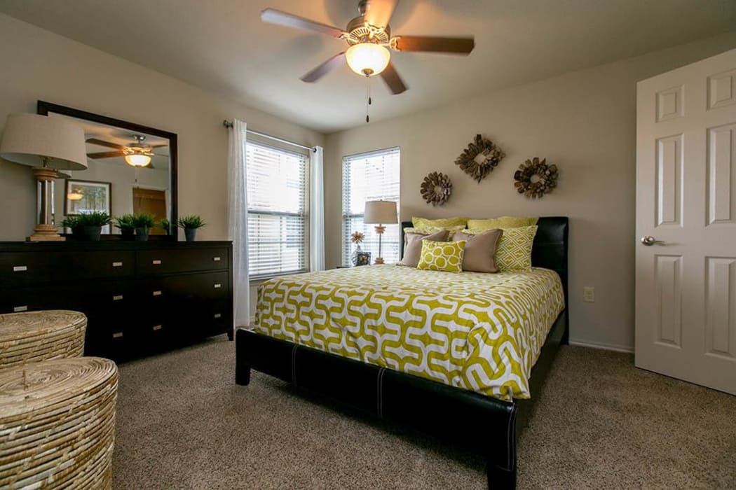 Master bedroom at Tuscana Bay Apartments in Corpus Christi, Texas