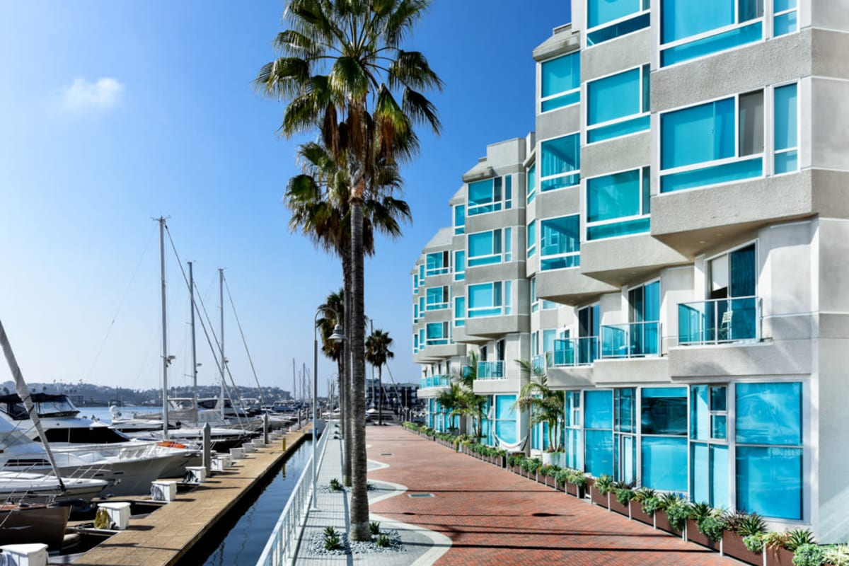 Boardwalk between our community and the marina at Esprit Marina del Rey in Marina del Rey, California