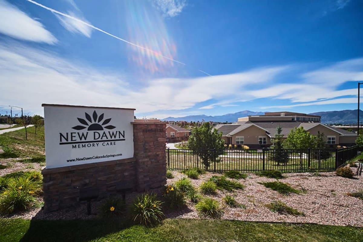 Signage at New Dawn Memory Care in Colorado Springs, Colorado